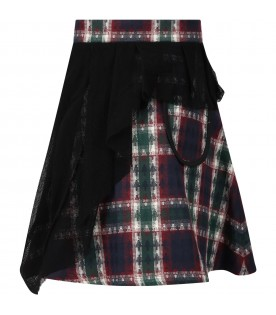 Multicolor skirt for girl with checks