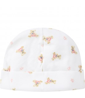 White hat for babygirl with bears