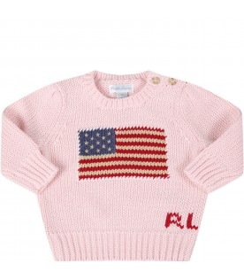 Pink sweater for babygirl with iconic flag