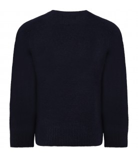 Blue sweater for kids with logo