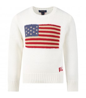 White sweater for girl with iconic flags