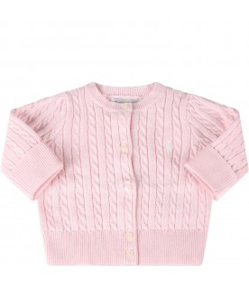Pink cardigan for babygirl with iconic pony