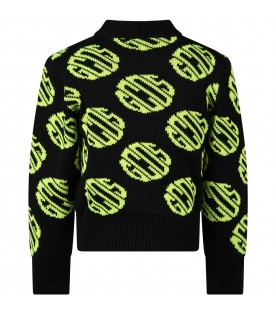 Black sweat for kids with neon yellow logos