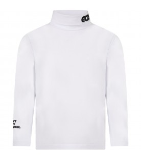 White turtleneck for kids with logo