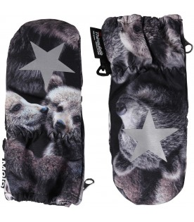Black snow gloves for kids with bears