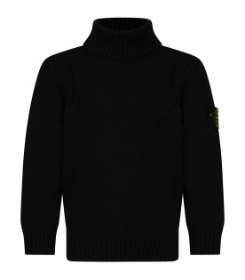 Black turtleneck for boy with iconic patch