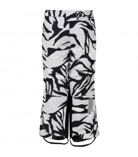 White padded snow pants for kids