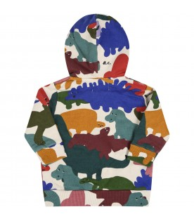 Ivory sweatshirt for babykids with dinosaurs