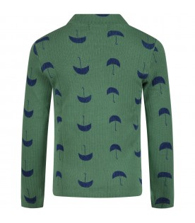 Green turtleneck for kids with umbrellas