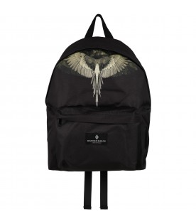 Black backpack for kids with green wings