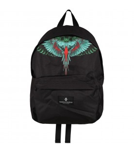 Black backpack for kids with green and red wings