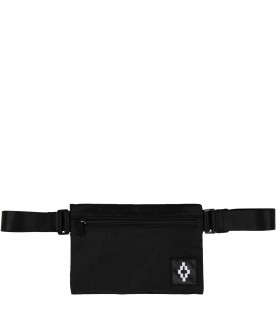 Black bum-bag for kids with iconic cross