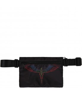 Black bum-bag for kids with colorful wings