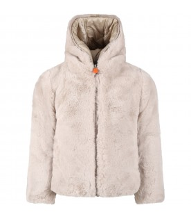 Beige faux fur for girl with iconic logo