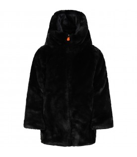 Black faux fur for girl with iconic logo