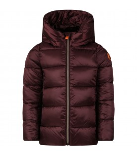 Bordeaux jacket for girl with iconic logo