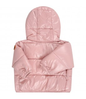 Pink jacket for babygirl with iconic logo