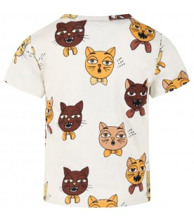 Ivory T-shirt for kids with cats