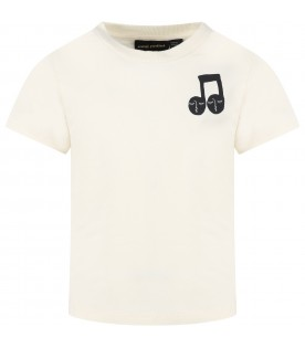 Ivory T-shirt for kids with musical note
