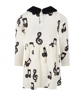 Ivory dress for girl with musical notes