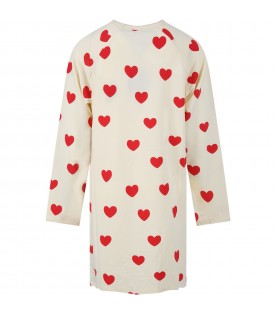 Ivory dress for girl with hearts