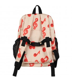Beige backpack for kids with logo