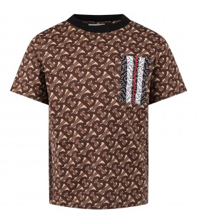 Beige T-shirt for boy with logos