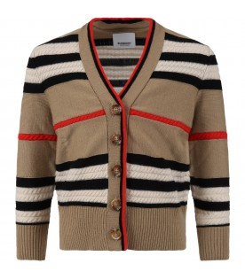 Beige cardigan for kids with iconic stripes