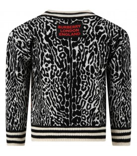 Beige sweater for kids with animalier prints