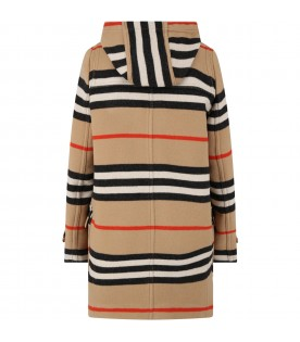 Beige coat for kids with stripes