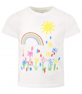 White t-shirt for girl with flowers and rainbow