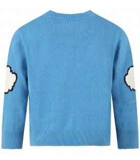 Light blue sweater for kids with sun