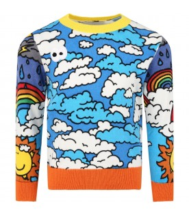 Blue sweat for kids with clouds