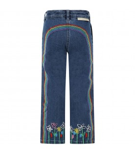Blue jeans for girl with rainbow