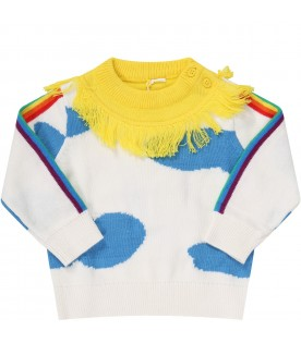 White sweat for kids with clouds