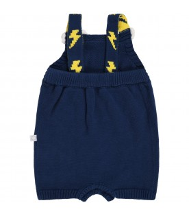 Blue romper for babykids with rainbow