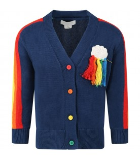 Blue cardigan for kids with cloud