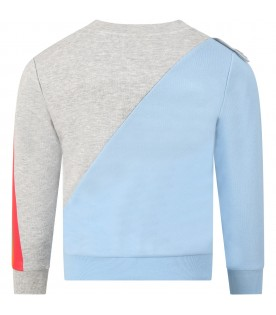 Light blue and grey sweatshirt for kids with sun
