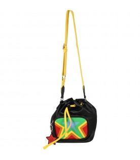 Black bucket bag for girl