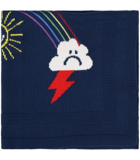 Blue blanket for babykids with rainbow