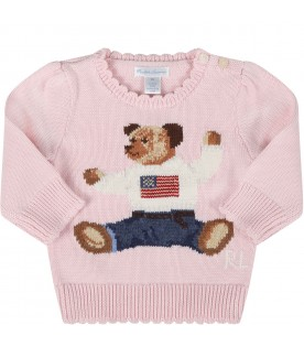 Pink sweater for babygirl with iconic bear