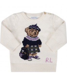 Ivory sweater for babygirl with iconic bear