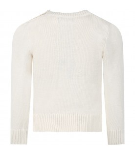 Ivory sweater for girl with iconic bear
