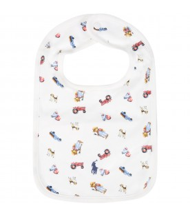 White bib for babyboy with colorful prints