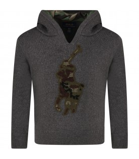 Grey sweater for boy with pony logo