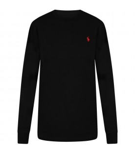 Black T-shirt for kids with blue pony logo