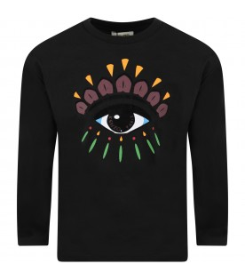 Black T-shirt for girl with iconic eye