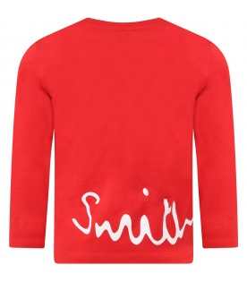 Red T-shirt for boy with logo