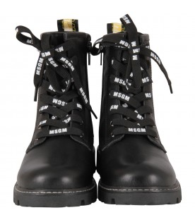 Black boots for girl with logos