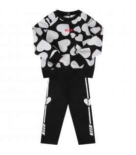 Black and white suit for babygirl with hearts